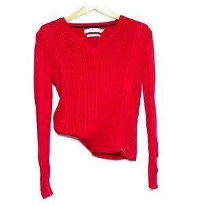 TOMMY HILFIGER Vintage Red VNeck Snap Knit Sweater